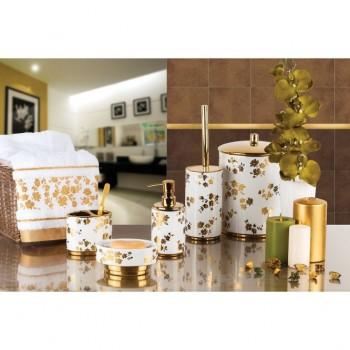 Набор аксессуаров для ванной Eleanora D-16160 белый-золото