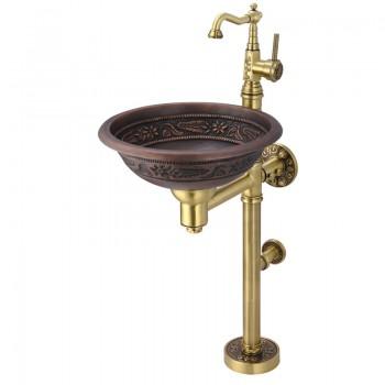 Раковина напольная медная со смесителем Bronze de lux 10108BR