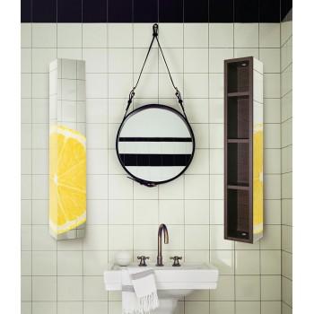 Шкаф поворотный с принтом на зеркале Хоп Шелф Арт венге/беленый дуб (15х90)