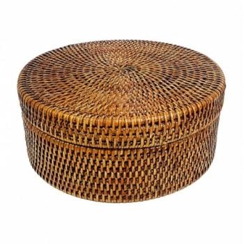 Круглая шкатулка с крышкой №1 BOX-10 Br коричневая