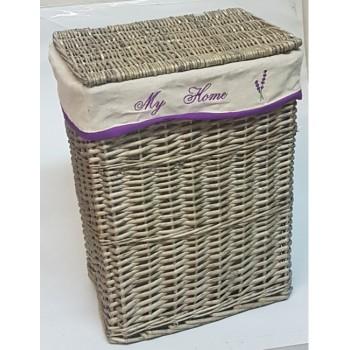 Плетеная корзина для белья серая №1 HQ18-31G S/5