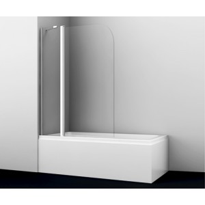 Стеклянная штора для ванны распашная двухстворчатая Wasserkraft Leine 35P02-110 (1400х110)