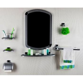 Набор аксессуаров для ванной с зеркалом Primanova M-024050 серый