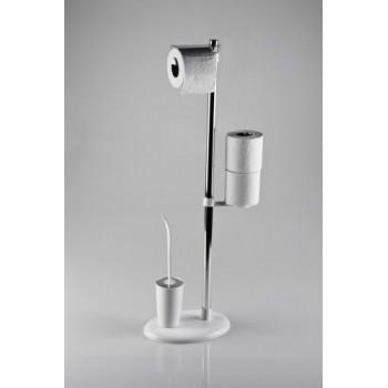 Стойка с ершиком и держателем для туалетной бумаги Primanova Alba M-E03-01 белая
