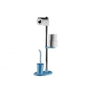 Стойка с ершиком и держателем для туалетной бумаги Primanova Alba M-E03-02 голубая