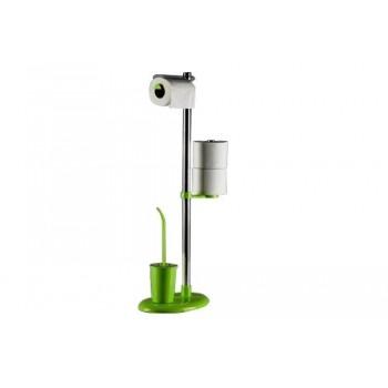 Стойка с ершиком и держателем для туалетной бумаги Primanova Alba M-E03-05 зеленая