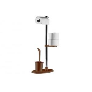 Стойка с ершиком и держателем для туалетной бумаги Primanova Alba M-E03-10 коричневая