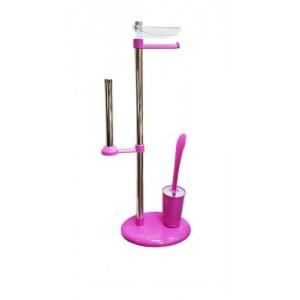 Стойка с ершиком и держателем для туалетной бумаги Primanova Alba M-E03-15 фуксия
