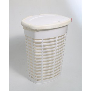 Корзина для белья пластиковая белая с бежевым чехлом Primanova PALM M-E44-01-09