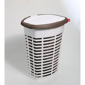 Корзина для белья пластиковая бело-коричневая Primanova PALM M-E44-01-10