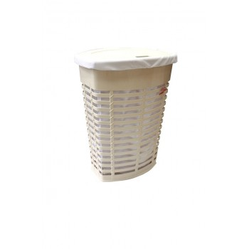 Корзина для белья пластиковая бежевая с белым чехлом Primanova PALM M-E44-09-01