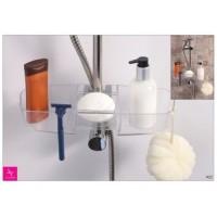 Полка навесная на душевую штангу для ванных принадлежностей Primanova M-N23-16 прозрачная