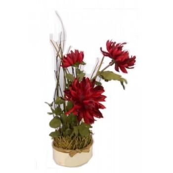 """Искусственные цветы """"Красные хризантемы в жестяном кашпо 42 см"""" D-D70040"""