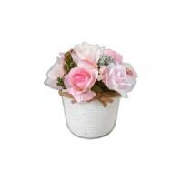 """Искусственные цветы """"Французские розовые розы (13 шт.) в кашпо под бамбук"""" D-D70062"""