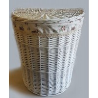 Корзина для белья в ванную плетеная полукруглая №1 KT04W S/10 белая большая