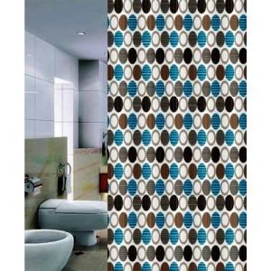 Штора для ванной 180*200 см. PRIMANOVA DR-50010 Geometry (синий)