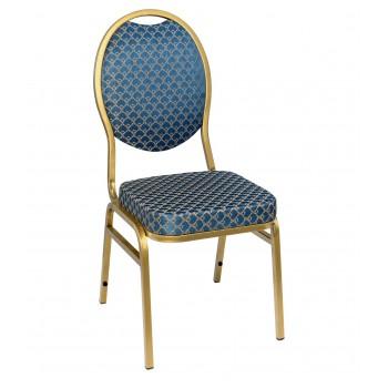 Банкетный стул Квин 20мм - золотой, синий арш 001-283