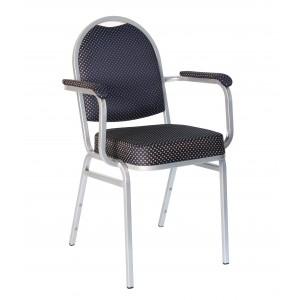 Банкетный стул Раунд 20мм с подлокотниками - серебристый, синяя корона 001-77