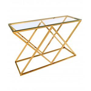 Консоль Инсигния со стеклянной столешницей сталь золото УТ000000894