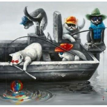 Картина коты на рыбалке Kare Ob55514