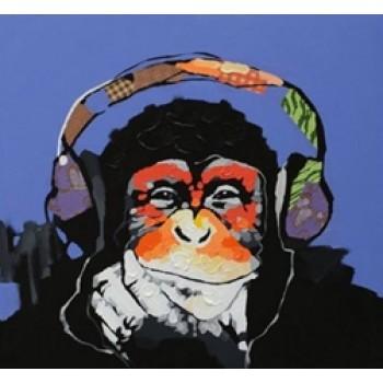 Картина обезьяна в наушниках Kare Ob55516